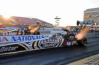 Feb. 17 2012; Chandler, AZ, USA; NHRA top fuel dragster driver Shawn Langdon during qualifying for the Arizona Nationals at Firebird International Raceway. Mandatory Credit: Mark J. Rebilas-