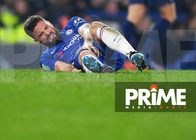 Olivier Giroud of Chelsea is injured during the Carabao Cup Semi-Final 2nd leg match between Chelsea and Tottenham Hotspur at Stamford Bridge, London, England on 24 January 2019. Photo by Vince  Mignott / PRiME Media Images.