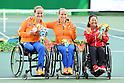 (L-R) Aniek Van Koot (NED), Jiske Griffioen (NED), Yui Kamiji (JPN), <br /> SEPTEMBER 15, 2016 - Wheelchair Tennis : <br /> Women's Singles Medal Ceremony <br /> at Olympic Tennis Centre<br /> during the Rio 2016 Paralympic Games in Rio de Janeiro, Brazil.<br /> (Photo by AFLO SPORT)