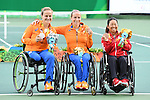 (L-R) Aniek Van Koot (NED), Jiske Griffioen (NED), Yui Kamiji (JPN), <br /> SEPTEMBER 15, 2016 - Wheelchair Tennis : <br /> Women's Singles Medal Ceremony <br /> at Olympic Tennis Centre<br /> during the Rio 2016 Paralympic Games in Rio de Janeiro, Brazil.<br /> (Photo by AFLO SPORT)