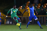 Lawrence Yiga of Haringey and Carlos Djalo of Romford during Romford vs Haringey Borough, Bostik League Division 1 North Football at Ship Lane on 8th November 2017