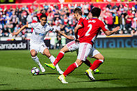 Sunday April 02 2017 <br /> Pictured: Kyle Naughton of Swansea City ( right ) in action <br /> Re: Premier League match between Swansea City and Middlesbrough at The Liberty Stadium, Swansea, Wales, UK. SUnday 02 April 2017
