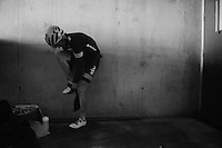 Geraint Thomas (GBR/SKY) changes into dry clothes in a tunnel next to the finish directly after the race as the riders need to descend the mountain again (in the cold and rain) to reach the team buses<br /> <br /> stage 12: Lannemezan - Plateau de Beille (195km)<br /> 2015 Tour de France