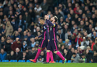 Lionel Messi of Barcelona celebrates his goal during the UEFA Champions League match between Manchester City and Barcelona at the Etihad Stadium, Manchester, England on 1 November 2016. Photo by Andy Rowland / PRiME Media Images.