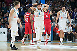 Real Madrid Luka Doncic, Rudy Fernandez and Felipe Reyes during Turkish Airlines Euroleague match between Real Madrid and Baskonia Vitoria at Wizink Center in Madrid, Spain. January 17, 2018. (ALTERPHOTOS/Borja B.Hojas)