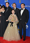Margaret Qualley, Quentin Tarantino, Brad Pitt, Julia Butters, and Leonardo DiCaprio 147 poses in the press room with awards at the 77th Annual Golden Globe Awards at The Beverly Hilton Hotel on January 05, 2020 in Beverly Hills, California.