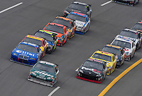 Apr 27, 2008; Talladega, AL, USA; NASCAR Sprint Cup Series driver Dale Earnhardt Jr (88) leads the field during the Aarons 499 at Talladega Superspeedway. Mandatory Credit: Mark J. Rebilas-