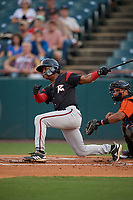 Richmond Flying Squirrels Jalen Miller (1) at bat during an Eastern League game against the Bowie Baysox on August 15, 2019 at Prince George's Stadium in Bowie, Maryland.  Bowie defeated Richmond 4-3.  (Mike Janes/Four Seam Images)