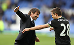 Antonio Conte manager of Chelsea celebrates after winning   with Cesar Azpilicueta of Chelsea the English Premier League match at Goodison Park , Liverpool. Picture date: April 30th, 2017. Photo credit should read: Lynne Cameron/Sportimage