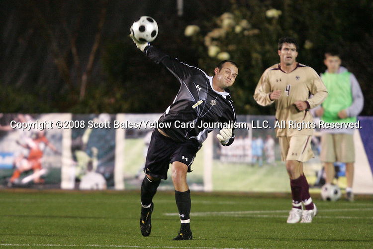 14 November 2008: Boston College's Chris Brown (1). The University of Maryland defeated Boston College 1-0 at WakeMed Stadium at WakeMed Soccer Park in Cary, NC in a men's ACC tournament semifinal game.