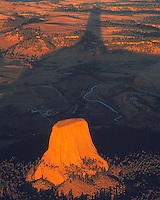 Devils Tower & Shadow at Sunset, Devils Tower National Monument, Western Black Hills, Wyoming