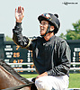 Kerwin Clark aboard Oxford Street after winning at Delaware Park on 7/31/14
