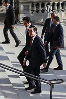 United States Secretary of the Treasury Steven T. Mnuchin and Qatar's Emir Sheikh Tamim bin Hamad Al Thani, walk into the Treasury Department for a dinner on July 8, 2019 in Washington, DC. Photo Credit: Oliver Contreras/CNP/AdMedia