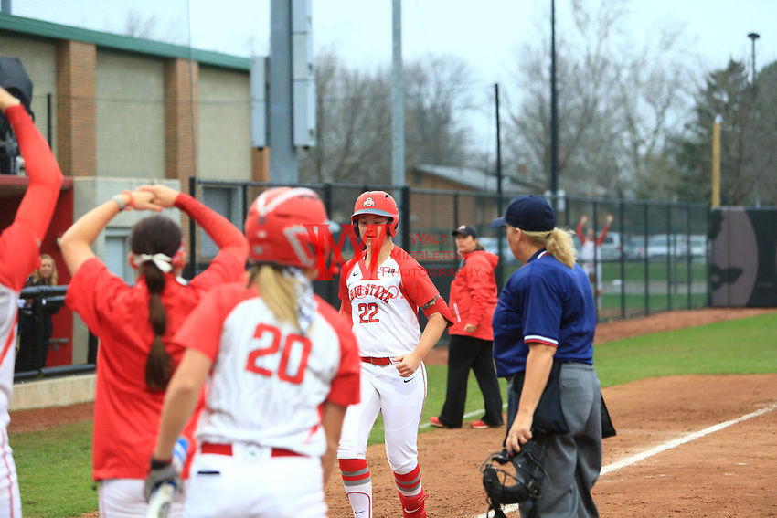 The Ohio State University Softball team played to the top of the 4th inning with a score of 5-0 vs Rutgers. March 31, 2017<br /> (Photo by: Walt Middleton Photography 2017)