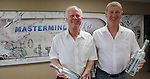 Bob Geraghty (left) and Carl Levering of Mastermind Vodka in the conference room of their Pontoon Beach distillery.