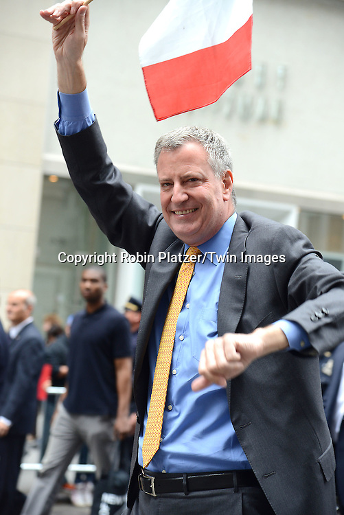 Mayor Bill de Blasio marchs in the 70th Annual Columbus Day Parade on October 13, 2014 on Fifth Avenue in New York City. <br /> <br /> photo by Robin Platzer/Twin Images<br />  <br /> phone number 212-935-0770