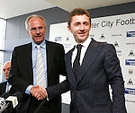 Sven Goran Eriksson is introduced as the new Manchester City manager by Alistar Grant from the new holding company