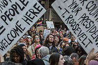 NEW YORK, NY - NOVEMBER 12: Demonstrators chant slogans as they march up Fifth Avenue in New York during a protest against the election of President-elect Donald Trump, Nov. 12, 2016. in New York City. Photo by VIEWpress/Maite H. Mateo.