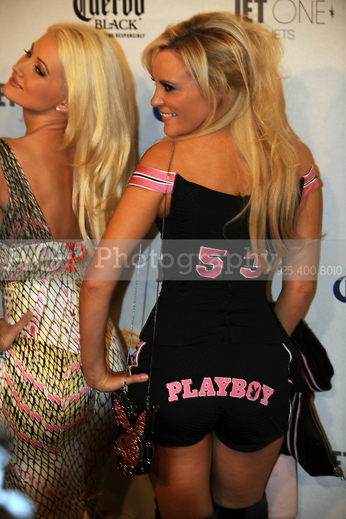 """Stars of """"The Girls Next Door"""" Holly Madison, left, and Bridget Marquardt pose at Playboy's ninth annual """"Super Saturday Night""""  party in at Playboy's Desert Oasis and Resort in Chandler, Arizona Saturday February 2, 2008.   (Photo by Alan Greth)"""