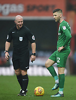 Preston's Paul Gallagher lines up a free-kick with Referee Simon Hooper<br /> <br /> Photographer Jonathan Hobley/CameraSport<br /> <br /> The EFL Sky Bet Championship - Brentford v Preston North End - Saturday 10th February 2018 - Griffin Park - Brentford<br /> <br /> World Copyright &copy; 2018 CameraSport. All rights reserved. 43 Linden Ave. Countesthorpe. Leicester. England. LE8 5PG - Tel: +44 (0) 116 277 4147 - admin@camerasport.com - www.camerasport.com