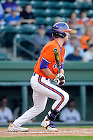 Outfielder Steven Duggar (9) of the Clemson Tigers bats in a game against the Furman Paladins on Wednesday, May 8, 2013, at Fluor Field at the West End in Greenville, South Carolina. (Tom Priddy/Four Seam Images)
