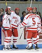 Ben Rosen (BU - 8), Ryan Santana (BU - 15), Adam Clendening (BU - 5), Justin Courtnall (BU - 19) - The Boston University Terriers defeated the visiting Providence College Friars 6-1 on Friday, January 20, 2012, at Agganis Arena in Boston, Massachusetts.