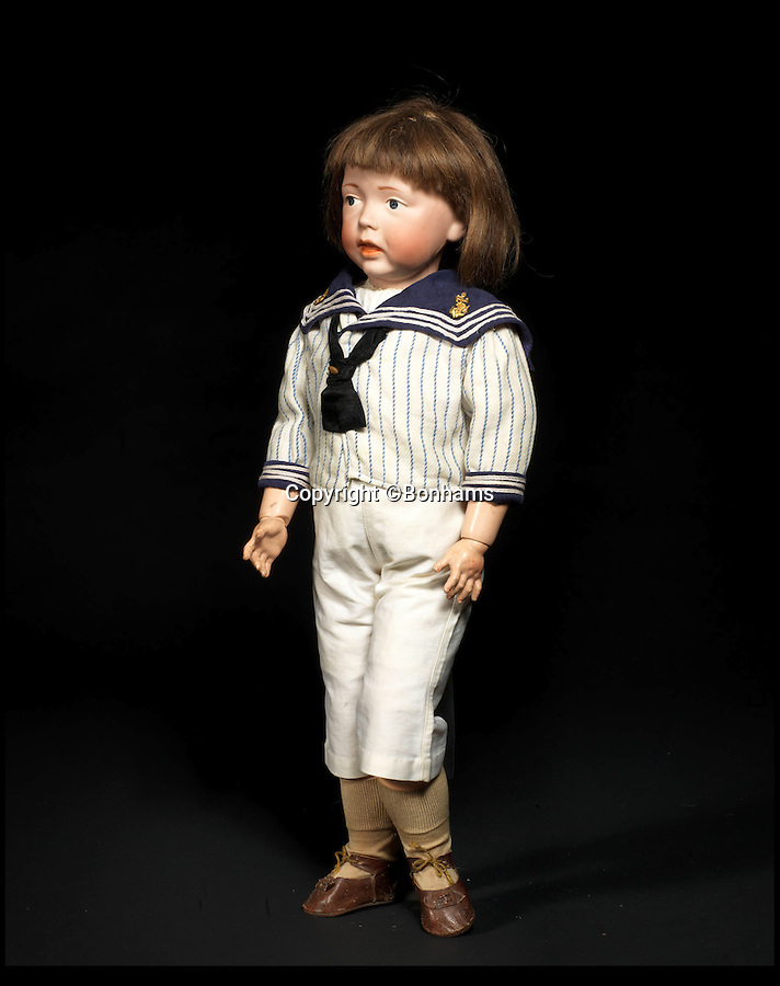 BNPS.co.uk (01202 558833)<br /> Pic: Bonhams/BNPS<br /> <br /> ***Please Use Full Byline***<br /> <br /> Kammer & Reinhardt 112 'Walter'  Bisque head charcter doll. <br /> £4000 - 6000.  <br /> <br /> A creepy collection of almost 100 'lifelike' dolls modelled on children has emerged for sale with a whopping half a million pounds price tag. <br /> <br /> The eerie-looking toys were made in Germany in the early 20th century as dollmakers strived to produce dolls with realistic human features.<br /> <br /> The collection of 92 dolls, which includes some of the rarest ever made, has been pieced together by a European enthusiast over the past 30 years.<br /> <br /> It is expected to fetch upwards of £500,000 when it goes under the hammer at London auction house Bonhams tomorrow (Weds).
