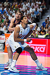 Real Madrid's player Gustavo Ayon and Barcelona's player Satoransky during Liga Endesa 2015/2016 Finals 4th leg match at Barclaycard Center in Madrid. June 20, 2016. (ALTERPHOTOS/BorjaB.Hojas)