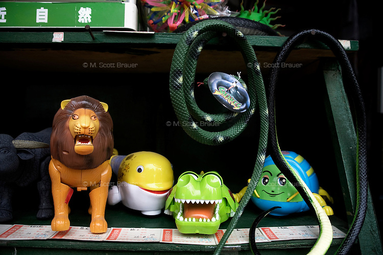 Plastic toys in the shape of animals are for sale at a stand in the Hefei Zoo in Hefei, China.