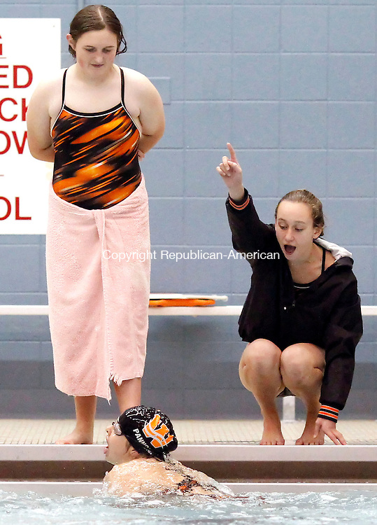 Watertown, CT-09 October 2012-100912CM03-  Watertown's teammates cheer on Andrea Pannoni during 200IM against Kennedy in NVL swim action Tuesday afternoon in Watertown.  Pannoni would win the event, and Watertown would go onto win the meet, 85-75.     Christopher Massa Republican-American