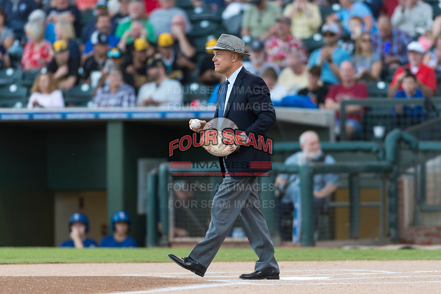 Arizona Fall League President Steve Cobb after catching the first pitch before the Fall Stars game at Surprise Stadium on November 3, 2018 in Surprise, Arizona. The AFL West defeated the AFL East 7-6 . (Zachary Lucy/Four Seam Images)