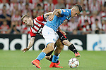 Athletic de Bilbao's Iker Muniain (l) and SSC Napoli's Marek Hamsik during Champions League 2014/2015 Play-off 2nd leg match.August 27,2014. (ALTERPHOTOS/Acero)