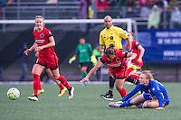 Allston, MA - Sunday, May 1, 2016:  Portland Thorns FC defender Meg Morris (44) and Boston Breakers defender Rachel Wood (24) in a match at Jordan Field, Harvard University.