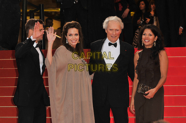 "BRAD PITT, ANGELINA JOLIE, CLINT EASTWOOD & DINA EASTWOOD.""The Exchange"" ( formerly titled ""Changeling"" ) film premiere at Palais de Festival during the 61st Cannes International Film Festival, Cannes, .France, 20th May 2008 .red carpet arrivals half length bow tie brown dress pregnant black suit tuxedo couple married husband wife hand waving.CAP/PL.© Phil Loftus/Capital Pictures"