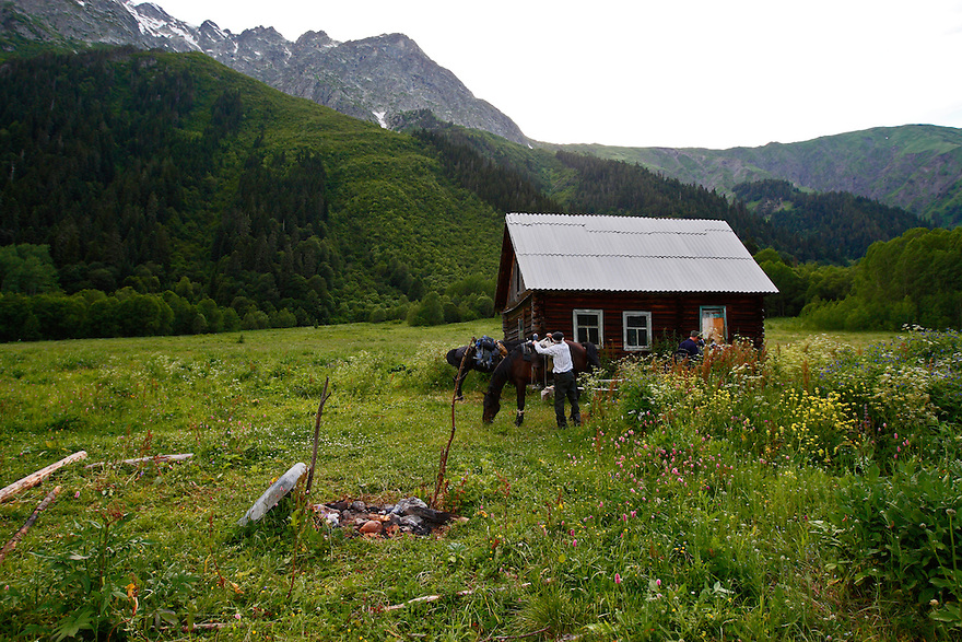 Russia, Caucasus, Teberdinsky Biosphere reserve. Ranger hut in Arkhyz valley in the western part of the reserve. Release form no 3 and 4.