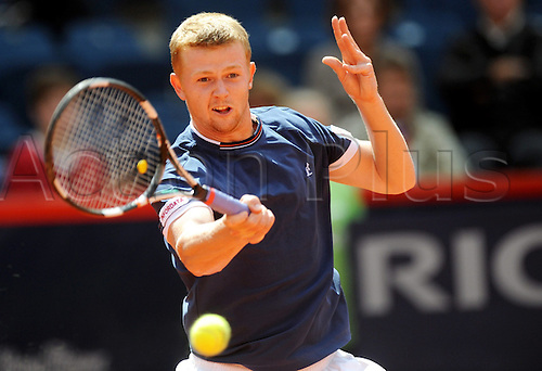 Kazakhstan's Andrej Golubjew hits the ball in his ATP 2010 German Open finals match against Austria's Juergen Melzer at Rothenbaum club in Hamburg, Germany, 25 July 2010.