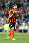 Shakhtar Donetsk´s Darijo Srna argues with the referee after a penalty during Champions League soccer match between Real Madrid and Shakhtar Donetsk at Santiago Bernabeu stadium in Madrid, Spain. Spetember 15, 2015. (ALTERPHOTOS/Victor Blanco)