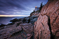 Bass Harbor Light and pink granite, Bass Harbor, Hancock County, Maine, US