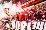 Stockholm 2014-04-16 Fotboll Allsvenskan Djurg&aring;rdens IF - AIK :  <br /> AIK supportrar under matchen<br /> (Foto: Kenta J&ouml;nsson) Nyckelord:  Djurg&aring;rden DIF Tele2 Arena AIK supporter fans publik supporters