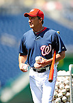 22 April 2010: Washington Nationals' Manager Jim Riggleman prepares for batting practice prior to a game against the Colorado Rockies at Nationals Park in Washington, DC. The Nationals were shut out by the Rockies 2-0 closing out their series with a 2-2 game split. Mandatory Credit: Ed Wolfstein Photo