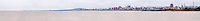 A very wide panorama of Montevideo, the city skyline and the river Rio de la Plata. Montevideo, Uruguay, South America