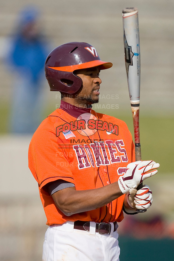 Austin Wates #21 of the Virginia Tech Hokies at bat against the Wake Forest Demon Deacons at English Field March 27, 2010, in Blacksburg, Virginia.  Photo by Brian Westerholt / Four Seam Images