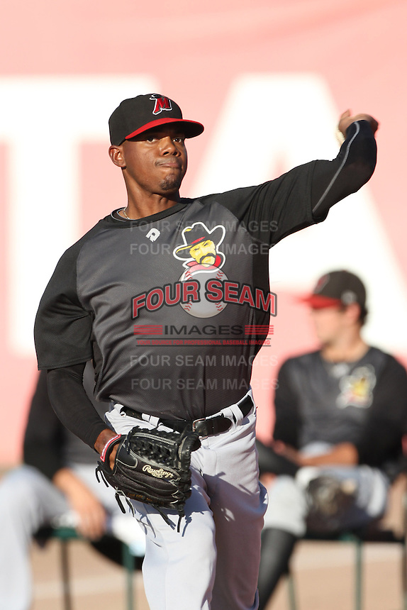 Roenis Elias #29 of the High Desert Mavericks warms up before pitching against the Inland Empire 66'ers at San Manuel Stadium on August 26, 2012 in San Bernardino, California. High Desert defeated Inland Empire 4-0. (Larry Goren/Four Seam Images)