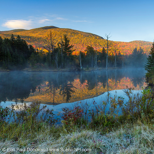 This photo represents October in the 2018 White Mountains New Hampshire calendar. Wildlife Pond in Bethlehem, New Hampshire on a foggy autumn day. You can purchase a copy of the calendar here: http://bit.ly/2rND4Kf