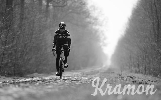 Christian Knees (DEU/SKY) riding through the Bois de Wallers-Arenberg sector<br /> <br /> 2015 Paris-Roubaix recon with Team SKY