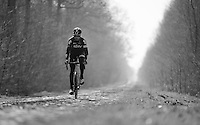 Christian Knees (DEU/SKY) riding through the Bois de Wallers-Arenberg sector<br /> <br /> 2015 Paris-Roubaix recon with Team SKY