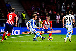 Santiago Arias of Atletico de Madrid (R) fights for the ball with David Zurutuza Veillet of Real Sociedad (L) during the La Liga 2018-19 match between Atletico de Madrid and Real Sociedad at Wanda Metropolitano on October 27 2018 in Madrid, Spain.  Photo by Diego Souto / Power Sport Images