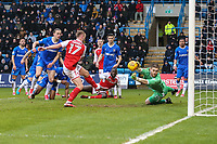Paddy Madden of Fleetwood Town shoots and Goalkeeper Tomas Holy of Gillingham makes the save during the Sky Bet League 1 match between Gillingham and Fleetwood Town at the MEMS Priestfield Stadium, Gillingham, England on 27 January 2018. Photo by David Horn.
