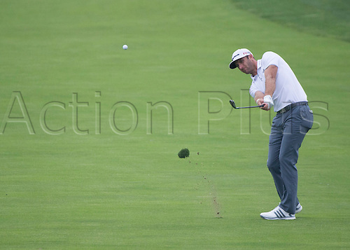 06.06.2015. Dublin, Ohio, USA.  Dustin Johnson hitting from the fairway during the third round of the Memorial Tournament held at the Muirfield Village Golf Club in Dublin, Ohio.
