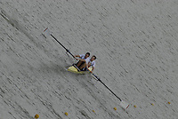 "Seville. SPAIN, 17.02.2007, GBR M2-, bow Robin BOURNE-TAYLOR and Alastair HEATHCOTE, clear the ""Puente de la Barqueta"" [bridge] during Saturdays heats, of the FISA Team Cup, held on the River Guadalquiver course. [Photo Peter Spurrier/Intersport Images]    [Mandatory Credit, Peter Spurier/ Intersport Images]. , Rowing Course: Rio Guadalquiver Rowing Course, Seville, SPAIN,"